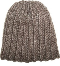 Tan Taupe Beanie Hat Tall Slouch Reversed