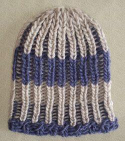Knit Beanie Brioche Hat Chalk Blue Linen Basket Weave Striped