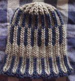 Knit Beanie Brioche Hat Chalky Blue Linen Sand Greece