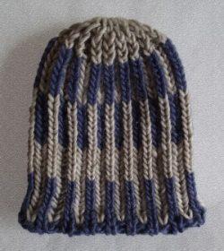 Knit Beanie Brioche Hat Chalk Blue Linen Basket Weave