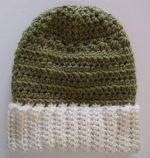 Spring Green Beanie Hat Slouchy Ski Style Soft White Brim