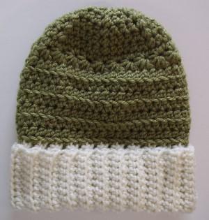 df1d06d6cc6 Crocheted Spring Green Beanie Hat Slouchy Ski Style White Brim ...