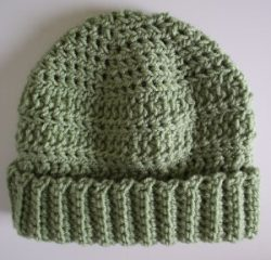Crocheted Beanie Hat Celery Short Brim Reversible