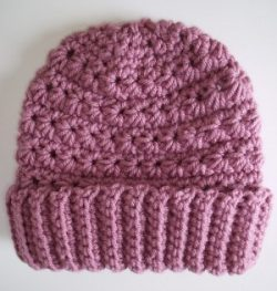 Crocheted Beanie Hat Spring Rose Pink Star Stitch