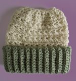 Crocheted Beanie Messy Bun Hat Double Brim Vanilla Celery Green