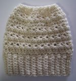 Crocheted Beanie Messy Bun Hat Vanilla Cream Star Stitch