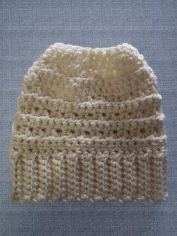 Crocheted Beanie Messy Bun Hat Vanilla Cream Star Stitch