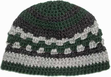 f85ccd55286 Crocheted Wool Beanie Kufi Spruce Green Gray Black Hat « Blue and ...