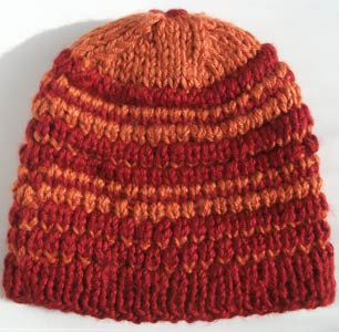 Firelit Double Knit Beanie Hat Ski Style Red Burnt Orange « Blue and ... 2fbdbed286c