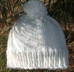 Knit Beanie Ski Hat Pom Pom Ribbed Gathered Wool Acrylic