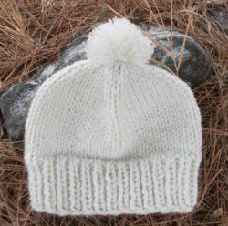 Knit Beanie Ski Hat Pom Pom Ribbed Sun Rays Wool Acrylic