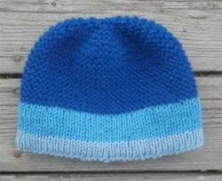 Blue Snaggletooth Banded Wool Hand Knit Beanie Hat