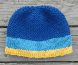 Blue Goldenrod Navy Snaggletooth Banded Wool Hand Knit Beanie Hat Men's