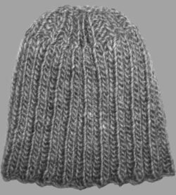 charcoal gray ribbed wool mohair knit beanie hat
